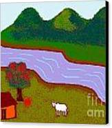 Lone Cow Canvas Print by Meenal C