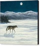 Lone Wolf In Winter   Version 2 Canvas Print by Steve Swavely
