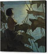 Looking At The Moon Circa 1916 Canvas Print