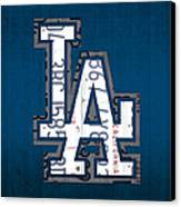 Los Angeles Dodgers Baseball Vintage Logo License Plate Art Canvas Print by Design Turnpike