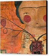 Los Corazones De Mi Arbol Canvas Print by Thelma Lugo