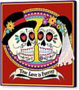 Los Novios Sugar Skulls Canvas Print