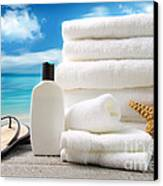 Lotion  Towels And Sandals With Ocean Scene Canvas Print by Sandra Cunningham