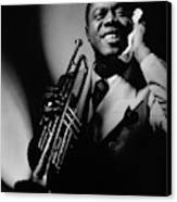 Louis Armstrong Holding A Trumpet Canvas Print