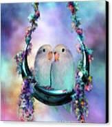Love On A Moon Swing Canvas Print by Carol Cavalaris