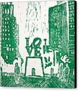 Love Park In Green Canvas Print