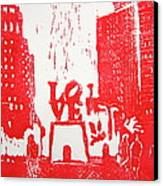 Love Park In Red Canvas Print