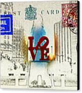 Love Park Post Card Canvas Print