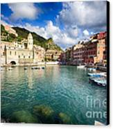 Low Angle View Of Vernazza  Harbor Canvas Print by George Oze