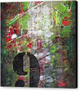 Lucky Number 9 Green Red Grey Black Abstract By Chakramoon Canvas Print by Belinda Capol