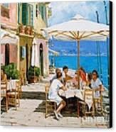 Lunch In Portofino Canvas Print by Michael Swanson