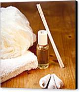 Luxury Bath Or Shower Set With Towel Sponge Perfume And Shells On Wooden Table Canvas Print by Gino De Graaf