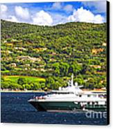 Luxury Yacht At The Coast Of French Riviera Canvas Print