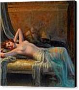 Lying Nude In A Bed Of Roses Canvas Print by Delphin Enjolras