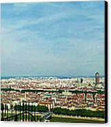 Lyon From The Basilique De Fourviere-color Canvas Print
