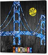 Mackinac Bridge Michigan License Plate Art Canvas Print by Design Turnpike