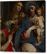 Madonna And Child With Saints John The Baptist With Mary Magdalene And Anne Canvas Print by Guiseppe Cesari
