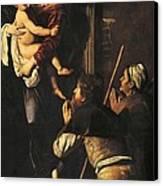 Madonna Dei Pellegrini Or Madonna Of Loreto Canvas Print by Michelangelo Merisi da Caravaggio