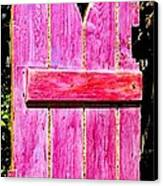 Magenta Painted Door In Garden  Canvas Print