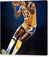 Magic Johnson - Lakers Canvas Print by Michael  Pattison