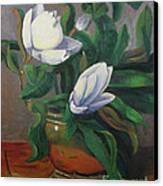 Magnolias On Brass Canvas Print