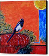 Magpie Singing At The Bath Canvas Print by Xueling Zou