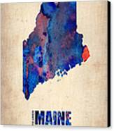 Maine Watercolor Map Canvas Print