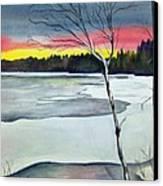Maine Winter Sunset Canvas Print