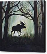 Majestic Bull Moose Canvas Print by Leslie Allen