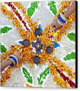 Making Rangoli With Flower Petals And Oil Lamps Canvas Print by Tim Gainey