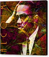 Malcolm X 20140105 With Text Canvas Print by Wingsdomain Art and Photography