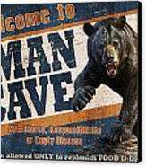 Man Cave Balck Bear Canvas Print