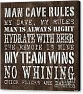 Man Cave Rules 1 Canvas Print