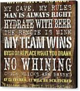 Man Cave Rules 2 Canvas Print by Debbie DeWitt
