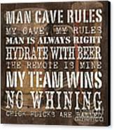 Man Cave Rules Square Canvas Print by Debbie DeWitt