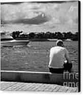 Man Fishing On Mallory Square Seafront Key West Florida Usa Canvas Print by Joe Fox