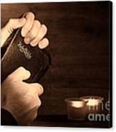 Man Hands And Bible Canvas Print