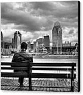 Man On A Bench Canvas Print by Mel Steinhauer