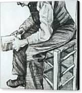 Man Reading The Bible Canvas Print
