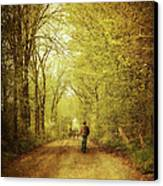 Man Walking  On A Lonely Country Road Canvas Print