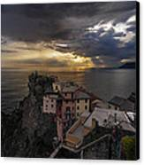 Manarola Sunset Storm Canvas Print