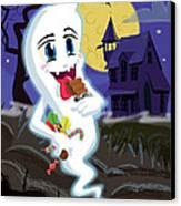 Manga Sweet Ghost At Halloween Canvas Print by Martin Davey