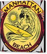 Manhattan Beach California Surfing Canvas Print by Larry Butterworth