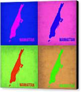 Manhattan Pop Art Map 1 Canvas Print by Naxart Studio