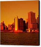 Manhattan Skyline At Sunset Canvas Print