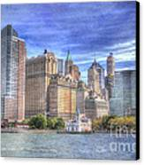 Manhattan Skyline From Hudson River Canvas Print by Juli Scalzi