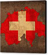 Map Of Switzerland With Flag Art On Distressed Worn Canvas Canvas Print by Design Turnpike