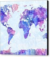 Map Of The World Map Watercolor Painting Canvas Print by Michael Tompsett