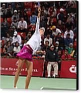 Maria Sharapova Serves In Doha Canvas Print by Paul Cowan