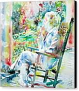 Mark Twain Sitting And Smoking A Cigar - Watercolor Portrait Canvas Print by Fabrizio Cassetta